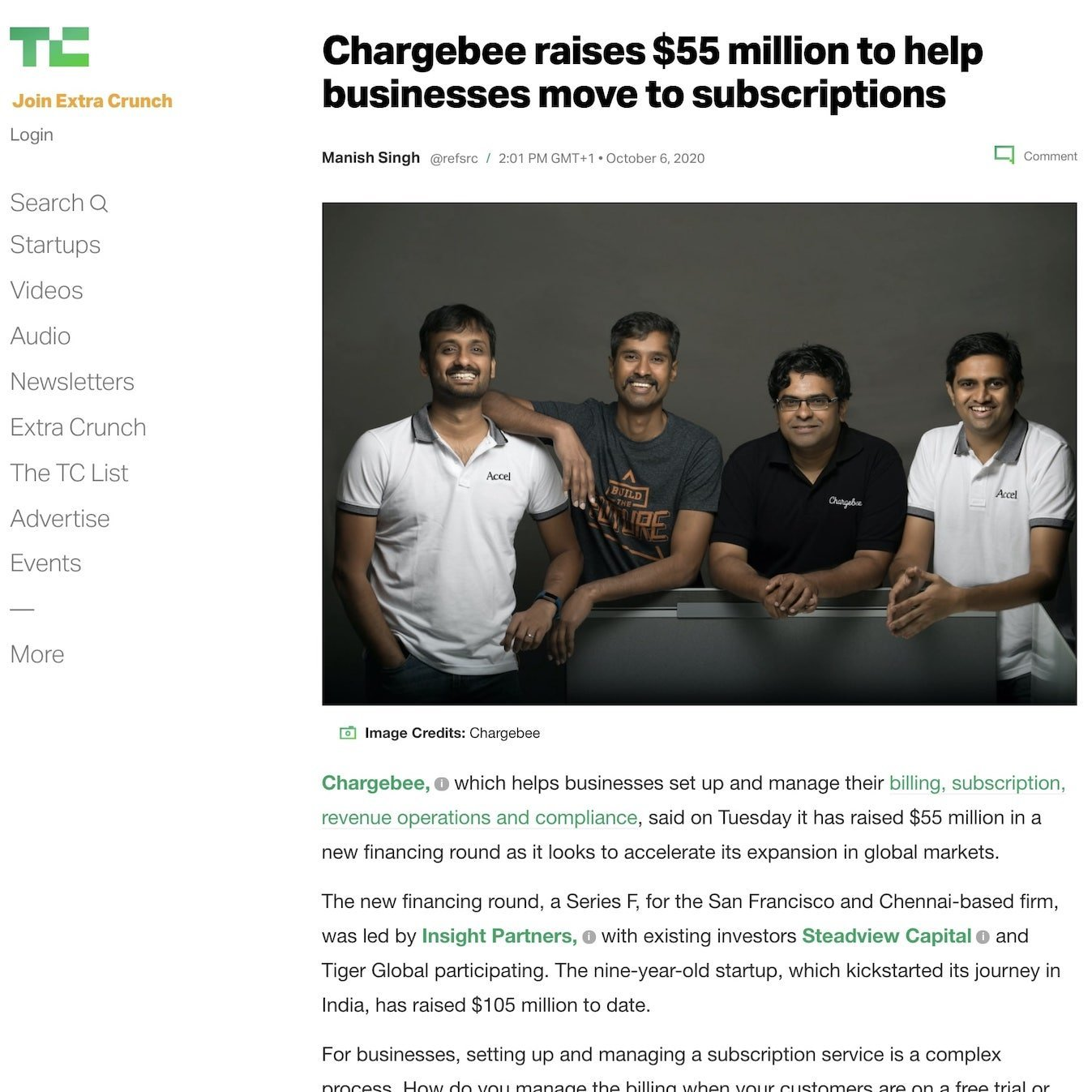 Article published at TechCrunch for Chargebee, thanks to our high tech PR agency
