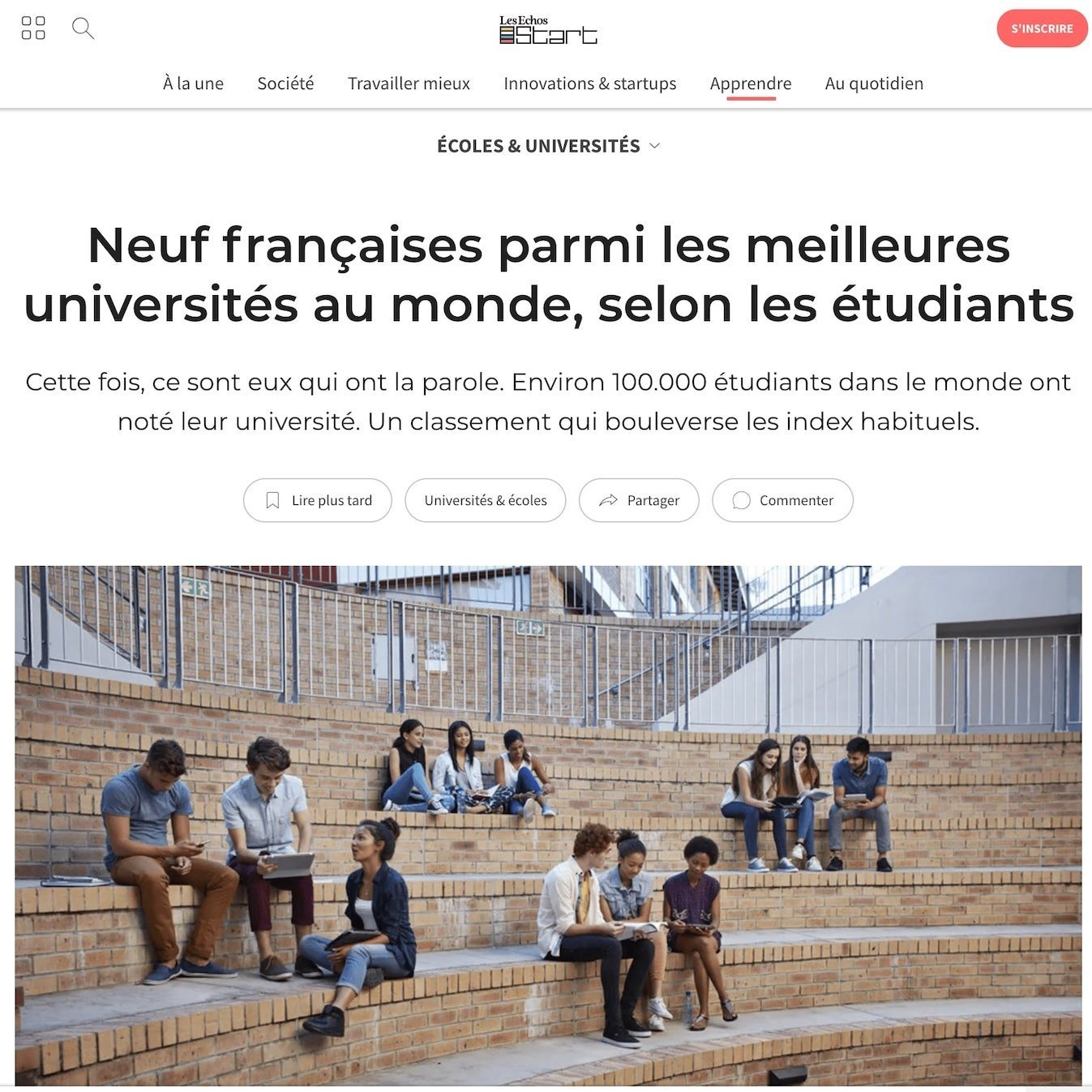 Article published at Les Echos for StuDocu thanks to our tech pr agency in Europe