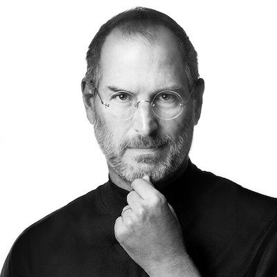 Photo of Steve Jobs, CEO of Apple and example of a thought later