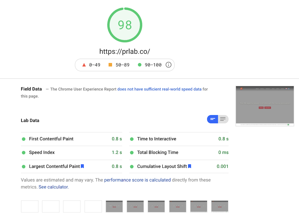 Screenshot of the performance of our SEO friendly website