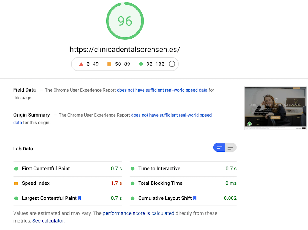 Screenshot of the performant of a optimized wordpress website