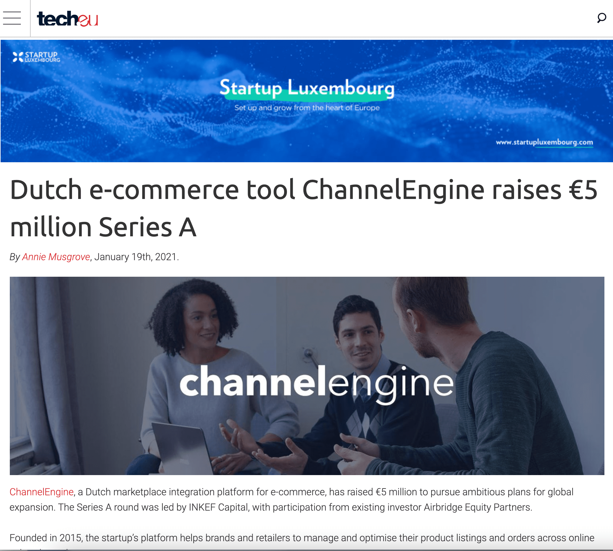 Press release from our Tech B2B PR agency for one of our clients, ChannelEngine..