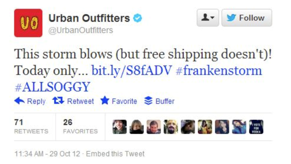 Photo of bad newsjacking from Urban Outfiters