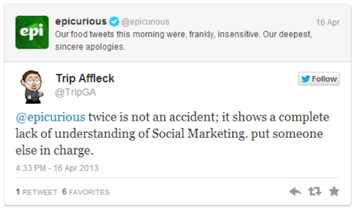 Example of bad newsjacking, from Epicurious