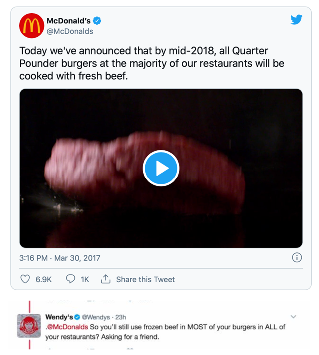 Example of good newsjacking from Wendy's