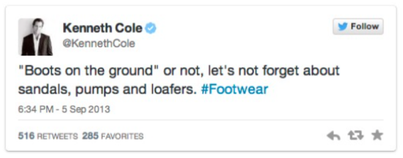 Photo of a tweet from Kenneth Cole, example of bad newsjacking.q