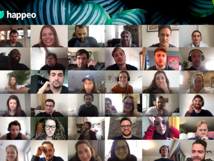 Photo of the Happeo team in a video call