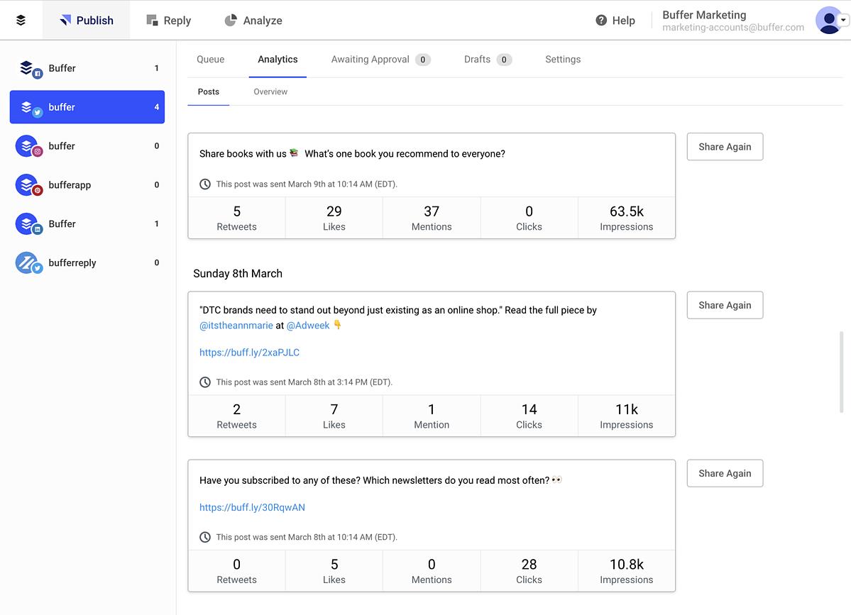 Screenshot of Buffer Platform