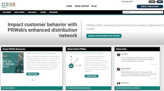 Screenshot of Cision, a powerful media monitoring tool.