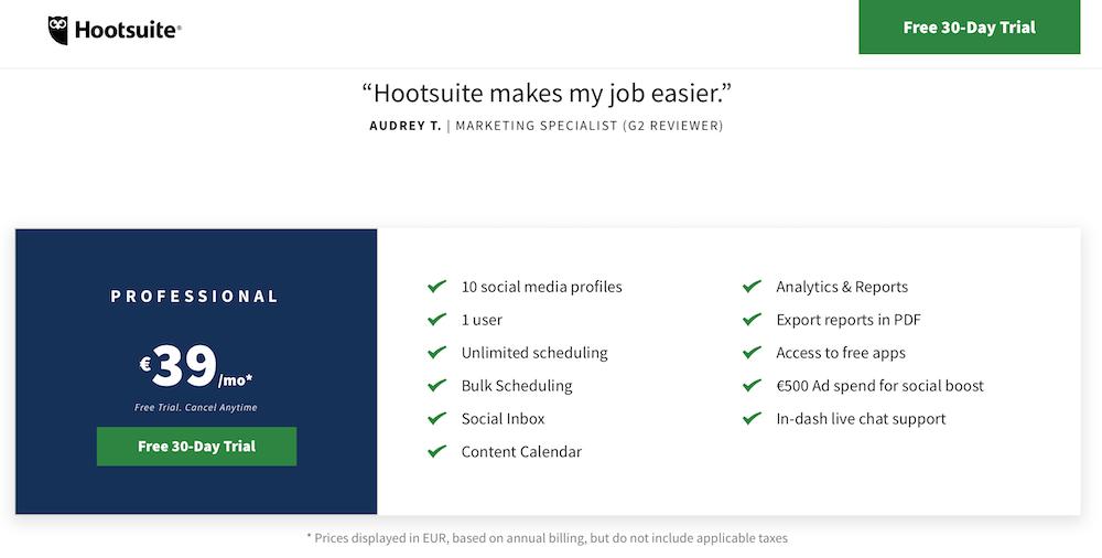 Screenshot of Hootsuite, the premium social media monitoring tool