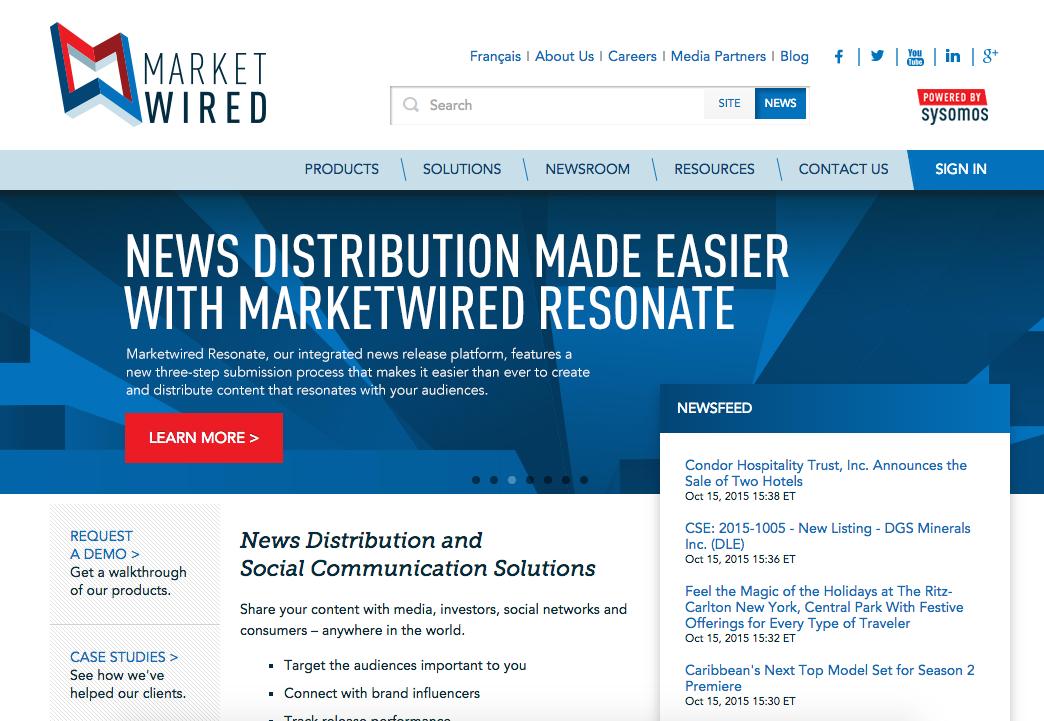 Screenshot of MarketWired, a news distribution tool