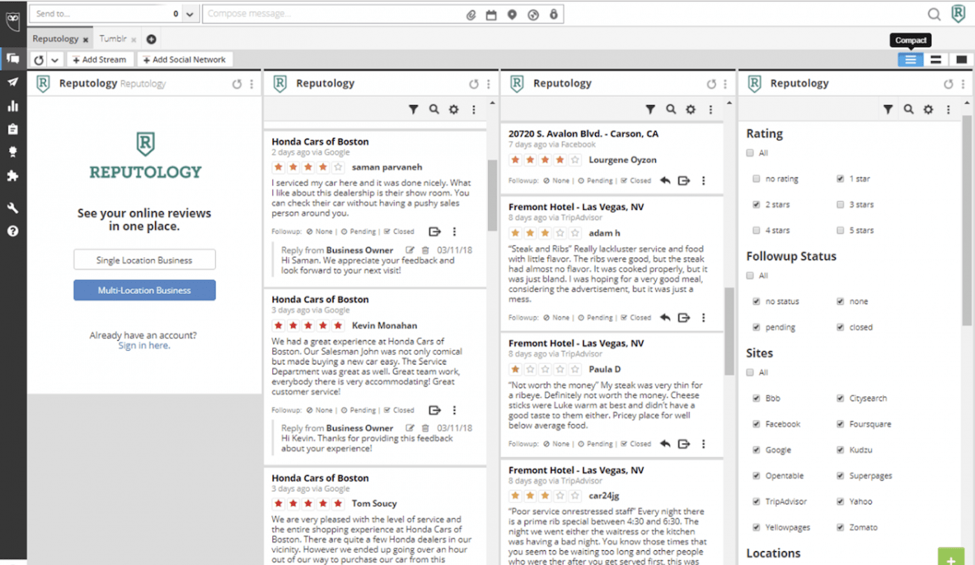 Screenshot of Reputology, media monitoring tool with free trial