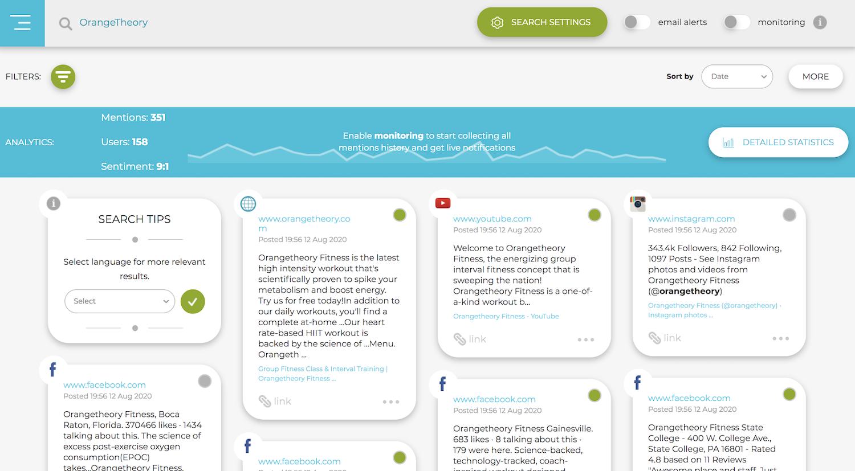 Screenshot of Social Searcher, the social media monitoring tool