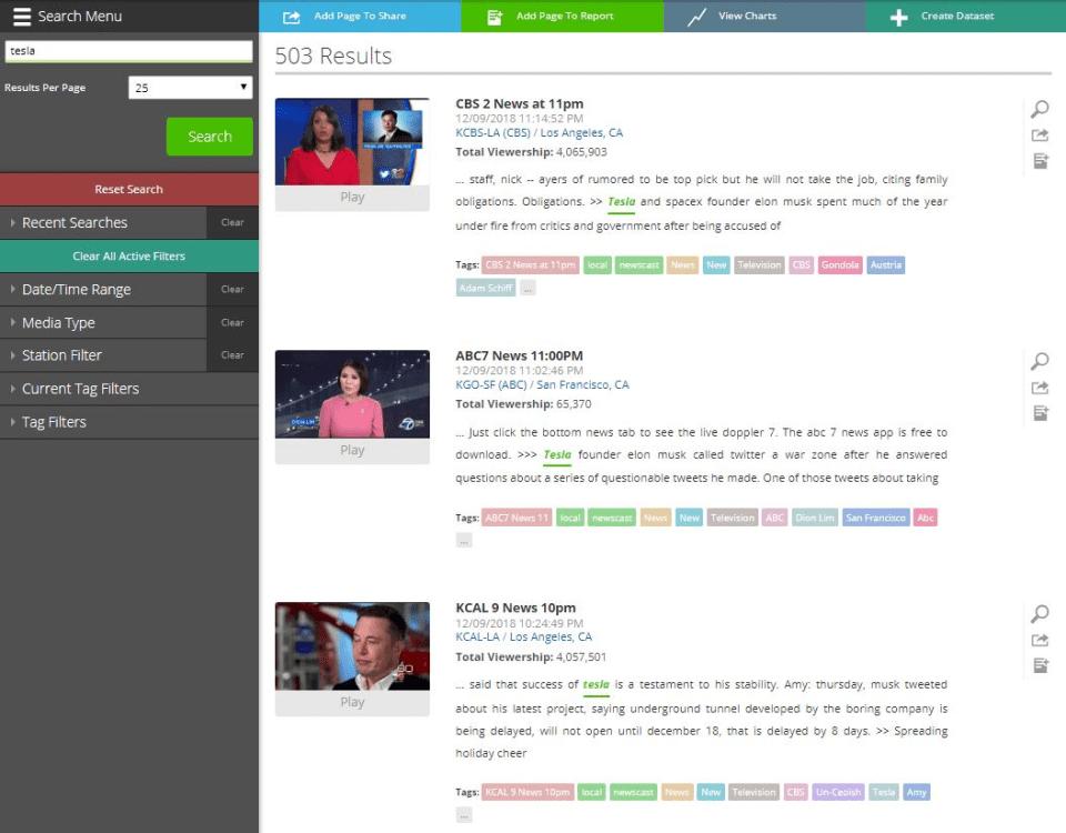 Screenshot of TV eyes, the famous media monitoring tool